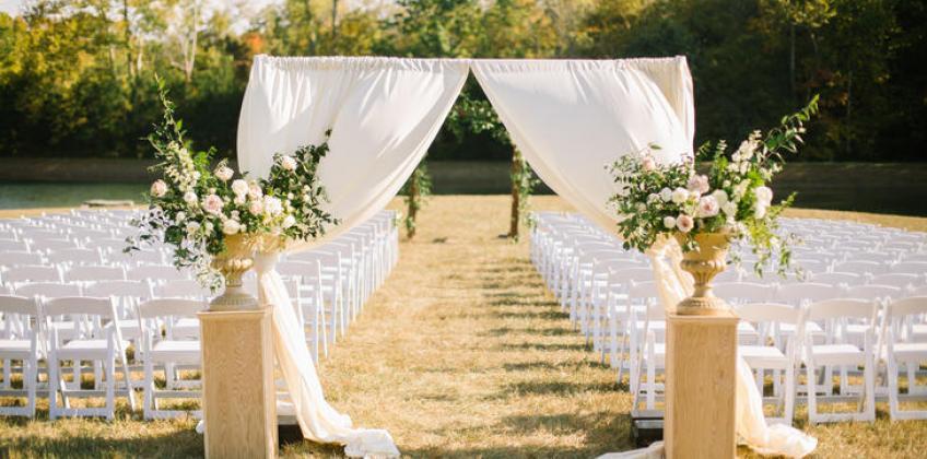Diy sheer fabric wedding arch walker lewis rents diy sheer fabric wedding arch junglespirit Images