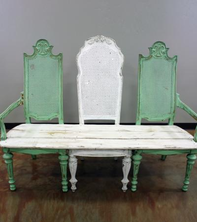 Farm Bench Mint White Walker Lewis Rents